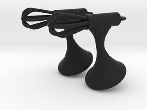 Whisk Cufflinks in Black Natural Versatile Plastic