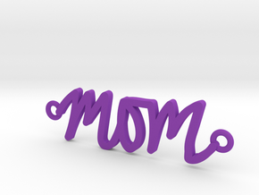 Mom Handwriting Necklace in Purple Processed Versatile Plastic