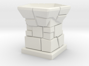 D12 Die Holder (Stone Tower) in White Strong & Flexible