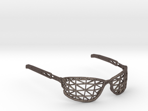 Wireframe Glasses in Polished Bronzed Silver Steel
