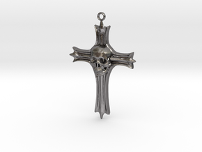 Skull Crucifix Pendant in Polished Nickel Steel