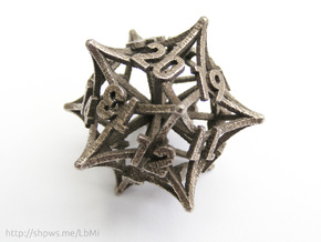 'Radial' D20 Spindown MTG Life Counter Die in Polished Bronzed Silver Steel