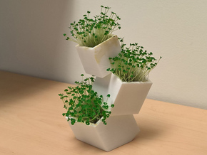 Toppling Boxes container/planter in White Strong & Flexible