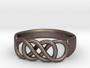 Double Infinity Ring 14.1 mm Size 3 in Polished Bronzed Silver Steel