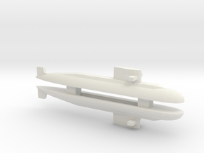 PLA[N] 039A Submarine x 2, 1/1800 in White Natural Versatile Plastic
