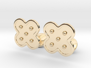 Flower Cufflinks in 14k Gold Plated Brass