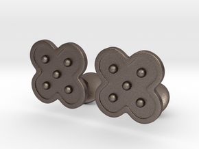Flower Cufflinks in Polished Bronzed Silver Steel