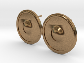 Plain Round Shield Earring Set in Raw Brass