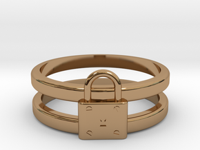 Padlock Double-banded Ring in Polished Brass