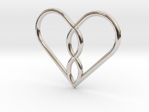 Infinity Heart Pendant Mini in Platinum