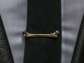Bone Tie Clip in Polished Brass