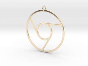 Google Chrome Pendant in 14k Gold Plated Brass