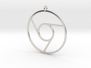 Google Chrome Pendant in Rhodium Plated Brass