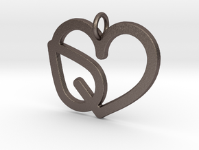 Heart Leaf Pendant - Amour Collection in Polished Bronzed Silver Steel