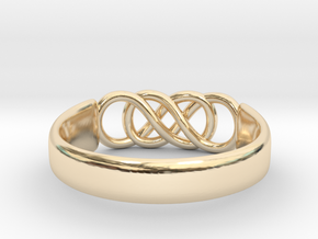 Double Infinity Ring 14.9mm Size4 in 14k Gold Plated Brass