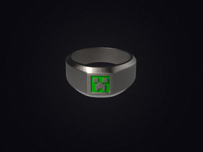 Creeper Signet Ring (Size 7 1/2 | 17.7 mm) in Polished Bronzed Silver Steel