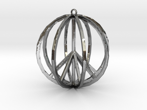 Global Peace Pendant deSign in Fine Detail Polished Silver