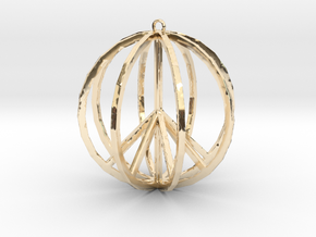 Global Peace Pendant deSign in 14k Gold Plated Brass