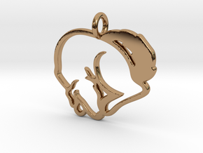Puppy Love Pendant in Polished Brass