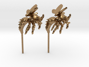 Wasp Stud Earrings in Natural Brass