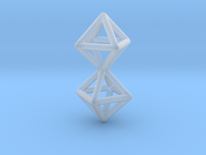 Twin Octahedron Frame Pendant in Smooth Fine Detail Plastic