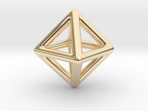 Minimal Octahedron Frame Pendant in 14K Yellow Gold