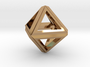 Octahedron Frame Pendant V1 in Polished Brass