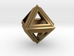 Octahedron Frame Pendant V2 in Polished Bronze