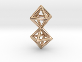 Twin Octahedron Frame Pendant in 14k Rose Gold Plated Brass