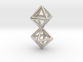 Twin Octahedron Frame Pendant in Rhodium Plated Brass