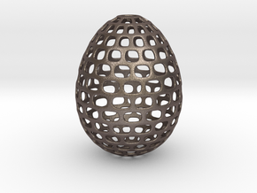 Running - Decorative Egg - 2.3 inches in Polished Bronzed Silver Steel