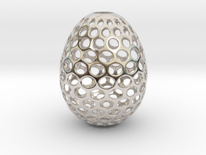 Aerate - Decorative Egg - 2.2 inches in Rhodium Plated Brass