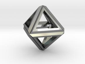 Octahedron Frame Pendant V1 Small in Fine Detail Polished Silver