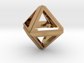 Octahedron Frame Pendant V1 Small in Polished Brass