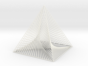 Small Square Pyramid Curve Stitching in White Strong & Flexible Polished
