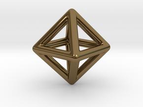 Minimal Octahedron Frame Pendant Small in Polished Bronze