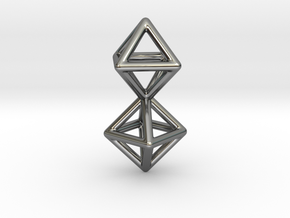Twin Octahedron Frame Pendant Small in Fine Detail Polished Silver