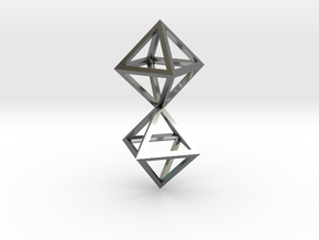 Faceted Twin Octahedron Frame Pendant in Fine Detail Polished Silver