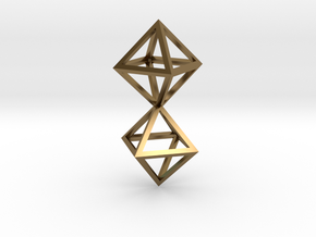Faceted Twin Octahedron Frame Pendant in Polished Bronze
