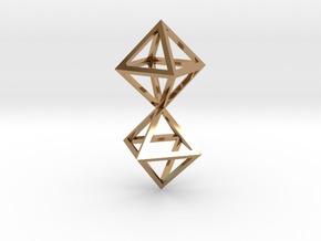 Faceted Twin Octahedron Frame Pendant Small in Polished Brass