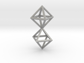 Faceted Twin Octahedron Frame Pendant Small in Aluminum