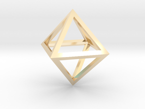 Faceted Minimal Octahedron Frame Pendant in 14k Gold Plated Brass