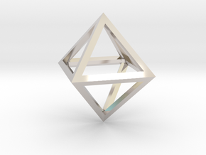 Faceted Minimal Octahedron Frame Pendant Small in Rhodium Plated Brass