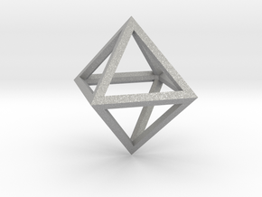 Faceted Minimal Octahedron Frame Pendant Small in Aluminum