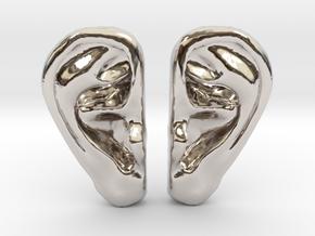 Ear Stud Earrings in Rhodium Plated Brass