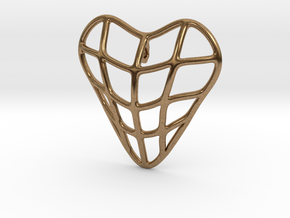 Heart cage pendant in Natural Brass