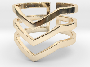 Arrows Ring Size 8 in 14k Gold Plated Brass
