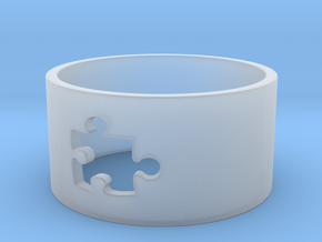 Puzzle Piece Ring Size 8 in Smooth Fine Detail Plastic