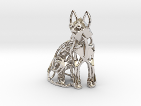 GeoCat Cat Pendant Charm in Platinum