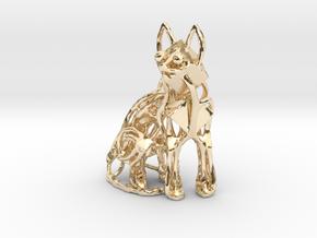 GeoCat Cat Pendant Charm in 14k Gold Plated Brass